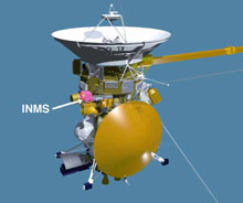 artist concept of cassini and inms location on spacecraft